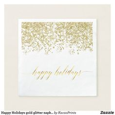 Happy Holidays gold glitter napkins