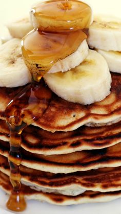 Chocolate Chip Banana Pancakes~ Thick and fluffy with bananas two ways and mini chocolate chips speckling the batter... Simply irresistible!