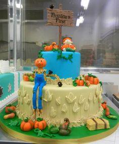 Pumpkin-patch themed 1st birthday cake