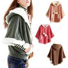 china wholesale Lovely Womens Warm Wool Cloak Shawl Pocket Fuzzy Ball Hoodie Fle