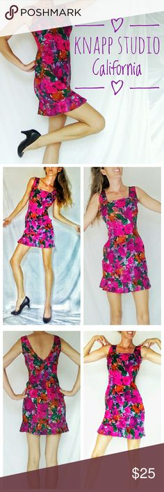 Vintage 1980s Knapp Studio California Skater Dress Beautiful Floral fuchsia floral skater mini dress by Knapp Studio. Circa 1980s. Size 4 approximately. Has a cute pleated skirt and v neck back. Beautiful mini from the 1980s. In fab condition. Knapp Studio California Dresses Mini