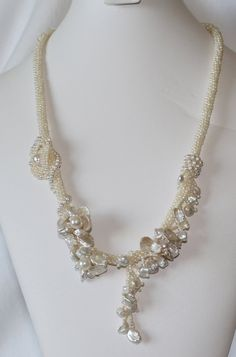 Wedding Pearl Necklace With Floral Theme by pearlweaver on Etsy, $400.00