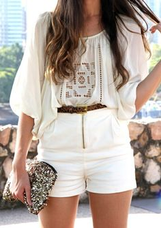 Boho chic feel...love the light colours in the summer time.  Accessories really do complete an outfit!  #3shahs