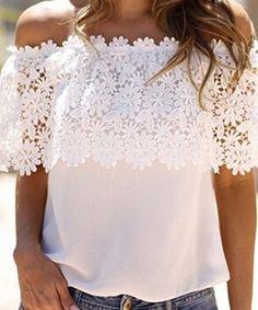 Stylish Slash Collar Short Sleeve Solid Color Spliced Women's Blouse