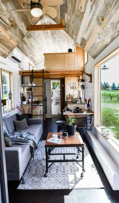 Urban Payette Tiny Home with Bump Out 0016 Really like this look! But where is any clothing storage or boots, shoes, coats? house design Urban Payette Tiny Home with Bump Out Tyni House, Tiny House Cabin, Tiny House Living, Tiny House Plans, Tiny House Design, Tiny House On Wheels, Small Living, Tiny House Kitchens, Off Grid Tiny House