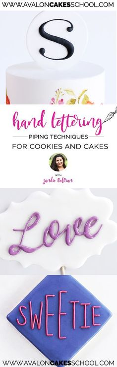 Learn how to pipe hand lettering like a expert using different fonts and widths. Calligraphy at it's best! Learn how from Sandie from You Can Call Me Sweetie, a famous cookie artist! This will work for cookies or cake! http://www.avaloncakesschool.com