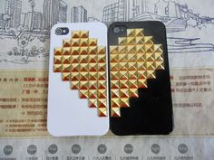 Beautiful iPhone 4, 4S hard Case Cover with golden heart-shaped pyramid stud For iPhone 4 Case, iPhone 4S Case,iPhone 4 GS case   -157