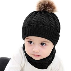 4e4a2309cd5 2PCS Toddler Baby Knit Hat Scarf Winter Warm Beanie Cap with Circle Loop  Hats  Yinuoday