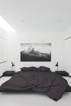 8 Plentiful Tips AND Tricks: Minimalist Bedroom Design White cozy minimalist home shelves.Minimalist Home White Beds minimalist bedroom cozy colour.Bohemian Minimalist Home Lights. Minimalist Room, Minimalist Interior, Minimalist Style, Minimalist Apartment, Minimalist Design, Minimal Bedroom, Modern Bedroom, Monochrome Bedroom, Monochrome Interior
