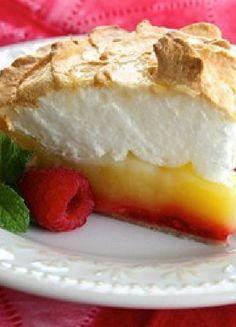 Low FODMAP & Gluten free Recipe - Lemon & raspberry meringue tart http://www.ibssano.com/low_fodmap_recipe_lemon_raspberry_meringue_pie.html