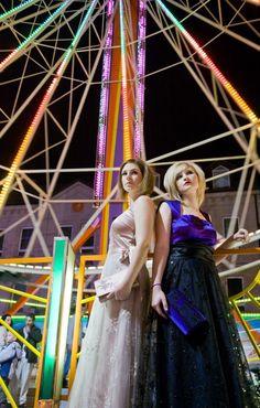 Simone Weghorn  - Modedesign, La vie en rose;   Dirndl, Violett, Pailletten, schwarz, Spitze, Maxi, Abendkleid, elegant, hell und dunkel, creme, silber
