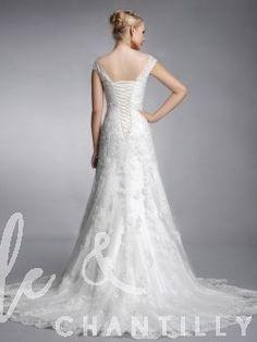 Sunshine- Elegant Sabrina Neckline A line Lace Bridal Dress with Cap Sleeves TBQW020
