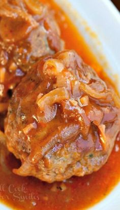 Amazing Baked Meatballs cooked in homemade French Onion Sauce for stronger flavor. These meatballs a juicy and packed with great flavor. Meatball Bake, Meatball Recipes, Pork Recipes, Cooking Recipes, Food Styling, French Onion, Beef Dishes, Main Meals, Casserole Recipes