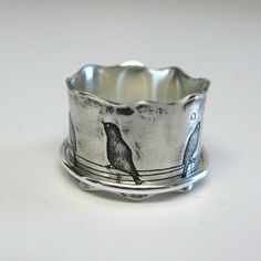 Birds on a Wire Sterling Silver Spinner Ring