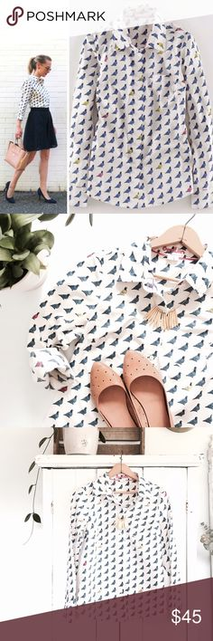 🆕Listing! Boden pigeon button down How adorable is this pigeon print! A quirky twist on a classic button down, this little number is perfect for those warm summer days. By Boden • In great condition • size 8   *Photo credit • Sarah's Real Life Boden Tops Button Down Shirts