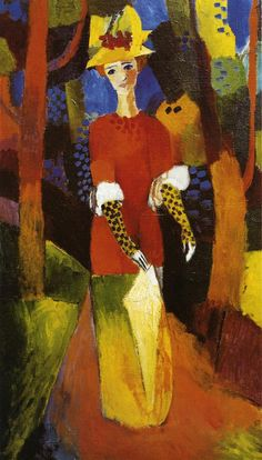 August Macke | Woman in Park, 1914 - oil on canvas, 38 x 23 cm