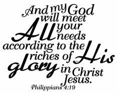My God will meet your needs