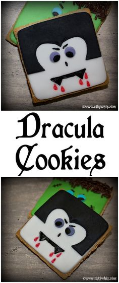 Simple DRACULA COOKIES, made using graham crackers. There's also an easy-to-follow video tutorial! Perfect for Halloween parties! From http://Cakewhiz.com
