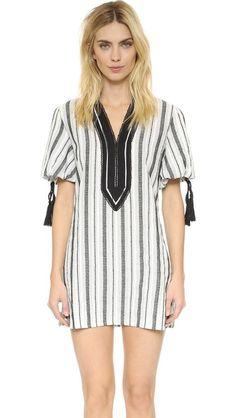 English Factory Stripe Tunic Dress - Navy/Black