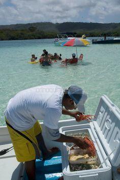 Un vendedor de comida marina ofrece su mercancía desde un bote en Bajo Caimán, en el  Parque Nacional Morrocoy.   Estas playas están ubicadas entre las poblaciones de Tucacas y Chichiriviche, en la región costera centro-norte del estado Falcón, en  Venezuela. Morrocoy,