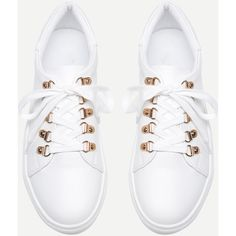 SheIn(sheinside) Lace Up Flatform PU Sneakers (120 PEN) ❤ liked on Polyvore featuring shoes, sneakers, sports shoes, white shoes, round cap, white trainers and white lace up shoes