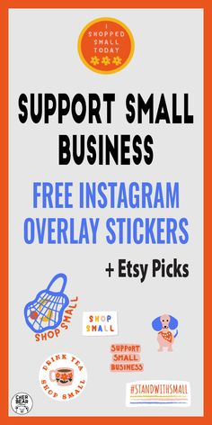 Support Small Business - Free IG Stickers And Etsy Picks - Cherbear Creative Instagram Grid, Free Instagram, Instagram Tips, Marketing, Food Dog, Grid Layouts, Etsy Business, Support Small Business, Social Media Graphics