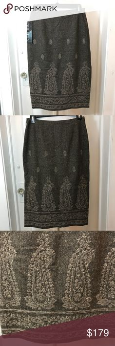 """ANNE KLEIN: NWT Vintage Paisley Wool Blend Skirt RARE Vintage Brown NWT Anne Klein Wool/Cashmere/Spandex Blended Skirt! Absolutely stunning and is a great staple skirt for the cooler months. I have serious skirt envy. 3rd photo shows color best! Zip and eyelet side closure and fully lined. As you can see from the pictures the skirt has one slit on the side providing a little """"sass"""". Measurements are approx: taken flat. Waist: 13""""; Length: 26"""" Slit: 12"""" Long. Please ask questions prior to…"""
