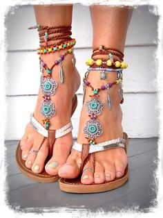 Brown GYPSY summer BAREFOOT Sandals Feathers leaves by GPyoga, $85.00