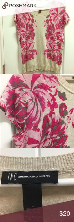 Flower print INC lightweight short sleeve sweater Flower print INC short sleeve knit top. Pink, charcoal and oatmeal colors. Hits at hip, fitted. Worn a few times, very little sign of wear. INC International Concepts Tops Tees - Short Sleeve