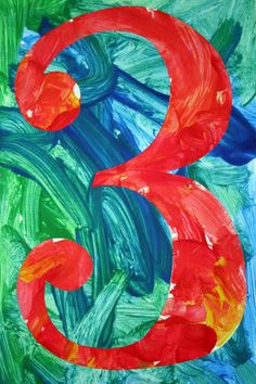 Early 3s and Preschool artists studied Jasper Johns Numbers and created these wonderful pieces.  We learned about warm and cool colors as they painted the background in blue and green cool colors and the numbers in red and yellow warm colors.