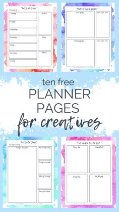 free watercolor planner pages perfect for the creative person. A weekly pla. Ten free watercolor planner pages perfect for the creative person. A weekly pla.,Ten free watercolor planner pages perfect for the creative person. A weekly pla. Free Planner Pages, Printable Planner Pages, Free Printables, Free Daily Planner Printables, Daily Schedule Printable, Teacher Planner Free, Weekly Planner Template, Goals Planner, Life Planner