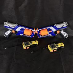Nerf Bundle 2 Strong Arms Guns & Walkie Talkie X2 outdoor fun kids bullets play