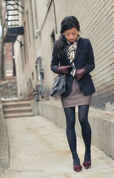 Cold weather done the petite way. Fitted coat, patterned scarf, and hip-skimming pencil skirt with tights.