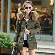 Wish | 2017 Women Fashion Long Sleeved Fur Coat Winter Warm Down Jacket Plus size