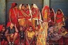 Portrait of Bhil tribe girls at the Spring Festival, Kawant, Gujarat ...
