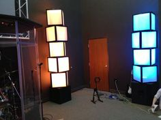 Stage Design, Lights -- Light boxes made using air filters, cardboard, duct tape and led lighting. Awesome, practical and cost effective. Diy Luminaire, Decor Eventos, Youth Group Rooms, Bühnen Design, Maker Fun Factory Vbs, Deco Led, Church Stage Design, Kids Church Stage, Teen Decor