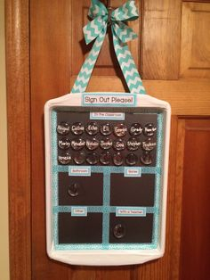 Bathroom sign out board! Magnetic cookies sheet, duck tape, washi tape.