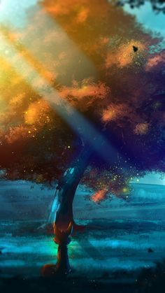 Tree, nature, fantasy, fox, artwork, 720x1280 wallpaper