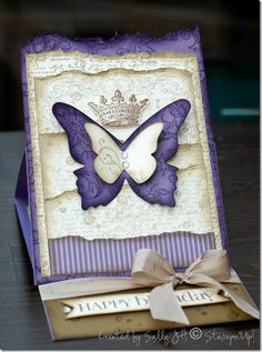 Paper: Perfect plum, very vanilla, soft suede, perfect plum designer paper   Ink: Perfect Plum, Elegant Eggplant, soft suede, crumb cake  Stamp sets: French Foliage, Bella Toile, Notably Ornate, Curly Cute   Tools: Big Shot, Butterfly Bigz die, Beautiful Wings embosslit  Accessories: flat backed rhinestones, crumb cake seam binding