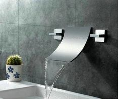 2 Handle Wall Mounted Tap Wide spread Waterfall Bathroom Basin Sink Bathtub Mixer Faucet, Chrome Finish Ys-9122 - Amazon.com
