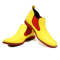 Yellow & Red Men's Boots Shoes  Handmade Colorful by PeppeShoes