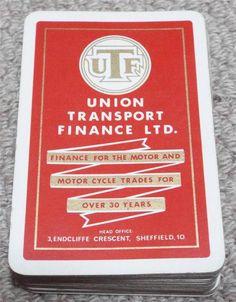 UNION TRANSPORT FINANCE - VINTAGE 1950's PACK OF PLAYING CARDS - RED Transportation, Finance, Playing Cards, Packing, Red, Vintage, Bag Packaging, Playing Card Games, Finance Books