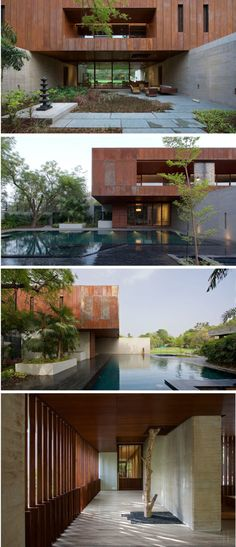 See How CORTEN steel Facade creates Adorable Residence. - The Architects Diary Design in india See How CORTEN steel Facade creates Adorable Residence. - The Architects Diary Modern House Facades, Modern Architecture House, Facade Architecture, Residential Architecture, Modern House Design, Contemporary Design, Building A Porch, Building Facade, Steel House
