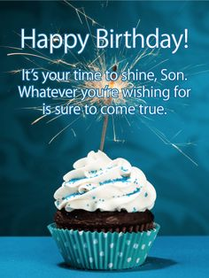 Time to Shine - Happy Birthday Card for Son: Got a sweet son celebrating a birthday? This festive bi Birthday Cake For Son, Happy Birthday Prayer, Birthday Messages For Son, Short Birthday Wishes, Happy Birthday Wishes For Him, Happy Birthday Pictures, Happy Birthday Greetings, Happy Birthday Cakes, 21 Birthday