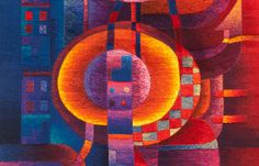 Hand woven contemporary tapestry by Award Winning Peruvian artist Maximo Laura, whose tapestries intertwine Peruvian tradition with contemporary aesthetics.
