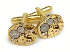 Steampunk cuff links gold Bulova 23 ruby jewel by steampunknation, $95.00