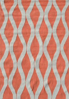 Nursery Rug -  RugStudio presents The Rug Market America Pop Accents Squiggle Coral/White Hand-Hooked Area Rug