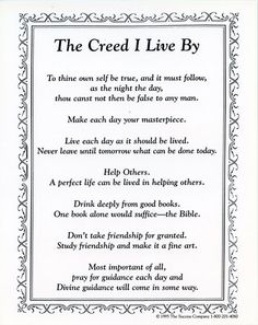 John Wooden's Seven Point Creed.
