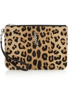 Leopard-print calf hair, black leather (Calf) Zip fastening along top Saint Laurent Paris, Saint Laurent Shirt, Ysl, Christian Dior, Leopard Handbag, Monogram Clutch, Ankle Boots, Saint Laurent Handbags, Monogrammed Purses