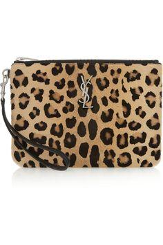 Saint Laurent|Leopard-print calf hair pouch|NET-A-PORTER.COM